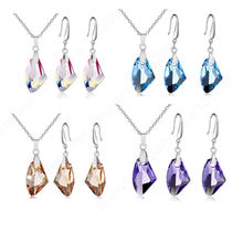 "Austrian Crystal Stone 925 Sterling Silver Jewelry Pinch Bail Earring Pendant Necklace Set 18"" ROLO Chains(China)"