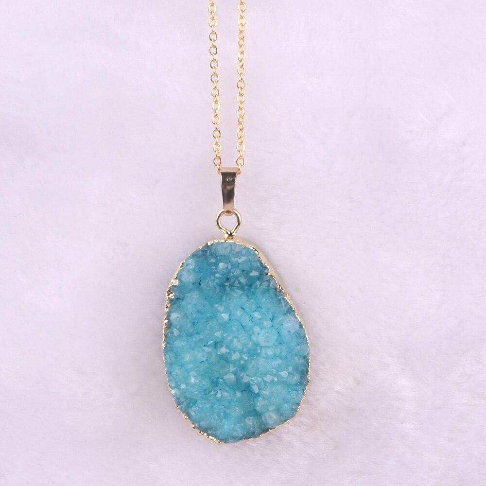 Druzy Free From Drusy Gjerdan varëse prej guri natyral vjollcë prej - Bizhuteri të modës - Foto 6