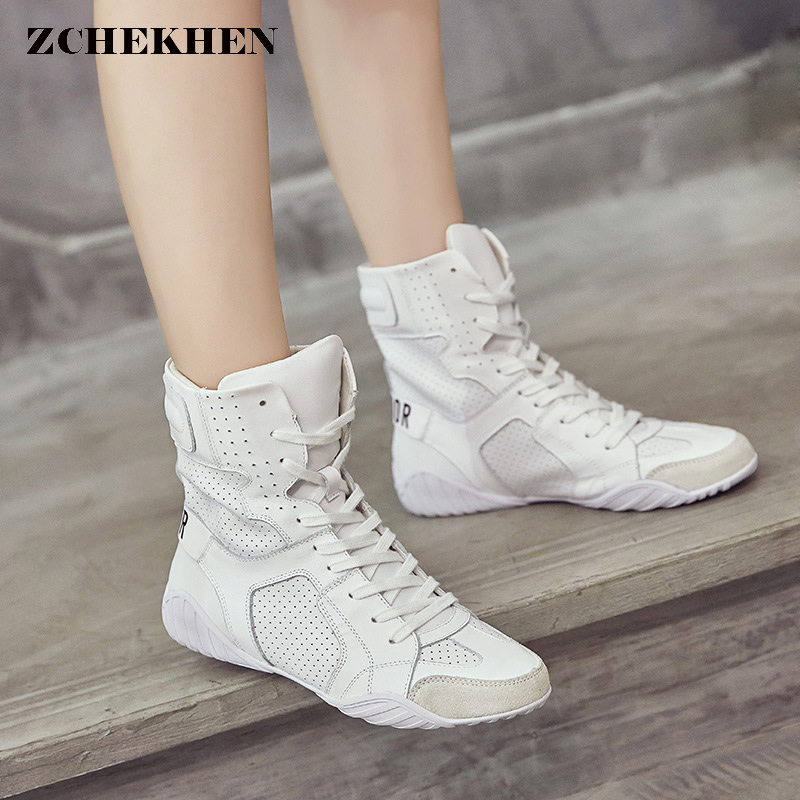 Luxury Brand Design sneakers Women Genuine Leather Boots Martins Boots White Casual Shoes Round Head Lace-up Flat Women's Shoes