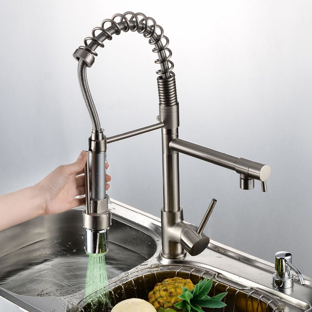 Nickel Brushed Two Spouts LED Colors Changing Kitchen Sink Faucet Brass  Pull Out Mixer Tap