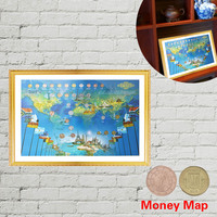 WR Money Map Wall Art Painting W/Metal Coins for Living Room Decorations Wall Picture Frame Luxury Home Decor