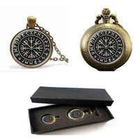 1pcs Norse Viking Cross In Rune Circle Pendant Jewelry Glass Cabochon Necklace Pocket Watch With Free