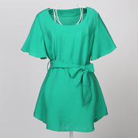Semi Sheer Ladies Green Tops Online Short Sleeves Tunic Top With Sash Belt Going Out Clothes