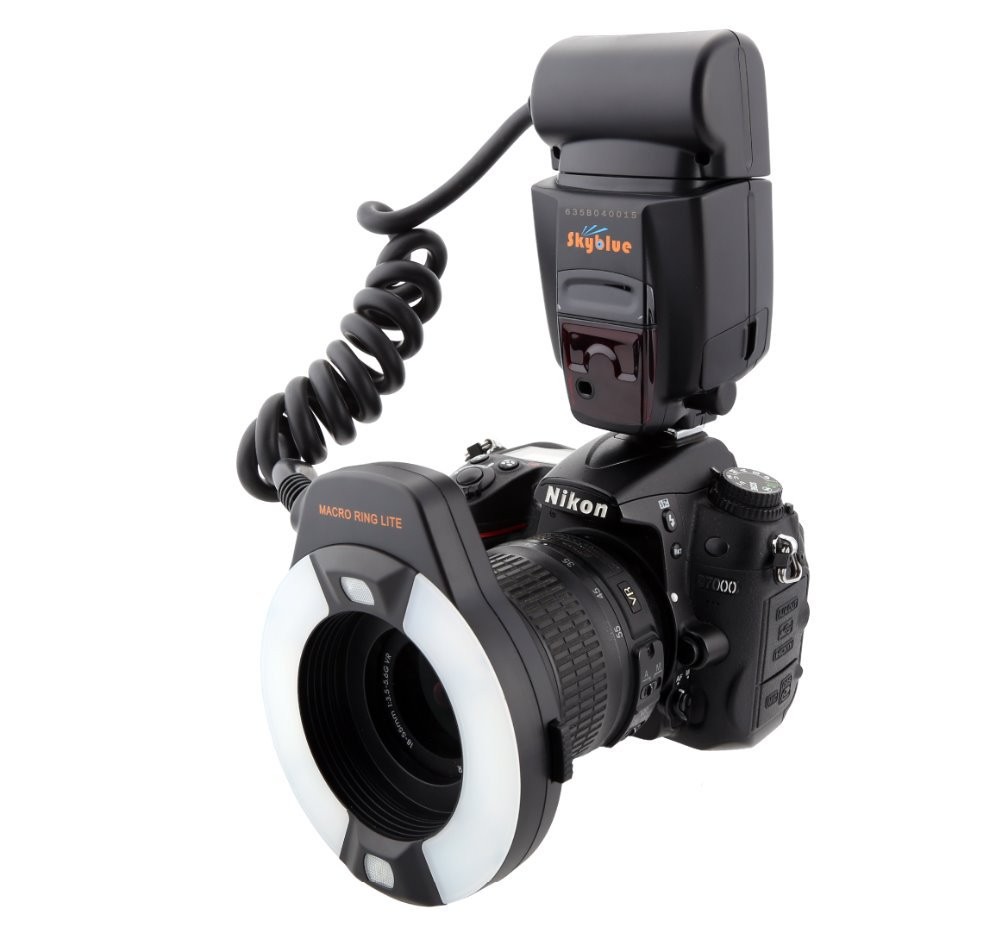 Meike MK-14EXT i-TTL Macro Ring Flash for Nikon D7100 D7000 D5200 D5100 D5000 D3200 D3100 D90 D300S D600 with LED AF Assist Lamp skyblue mk 14ext 2 0 lcd 9w 5500k 5500lm led profession ttl macro ring flash light for nikon dslr