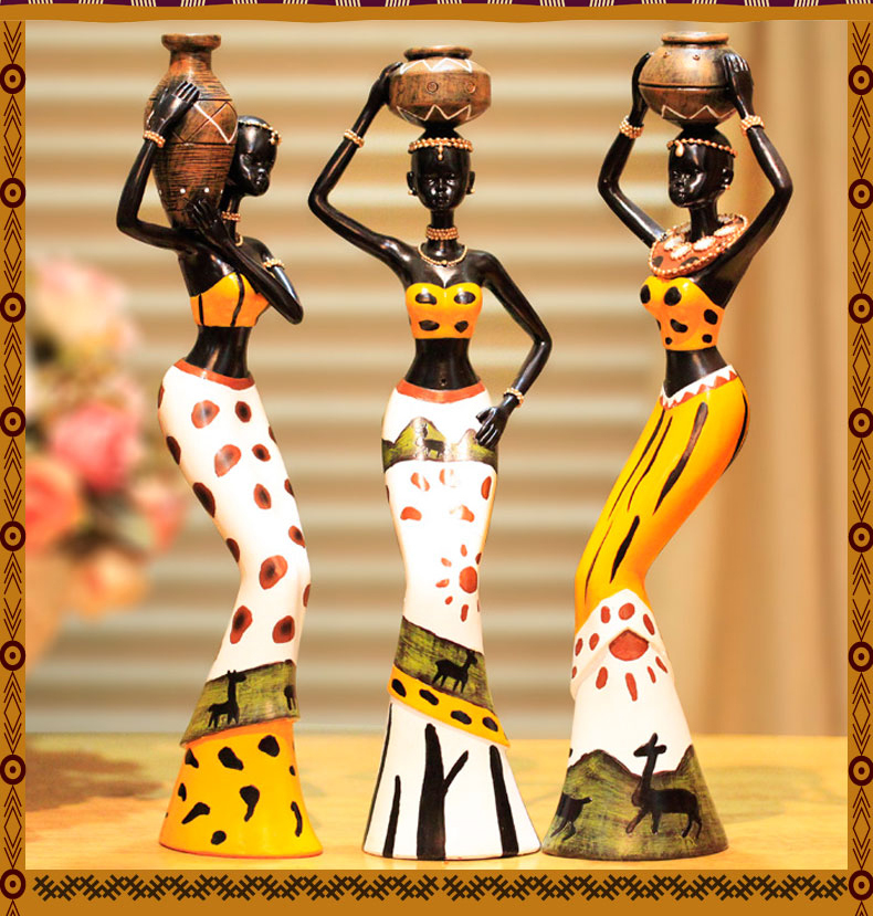 US $39.0  Prezzo all\'ingrosso # HOME office TOP BUONA OPERA d\'arte #  handmade arte tribù Africana ragazza statua-in Statue e sculture da Casa e  ...