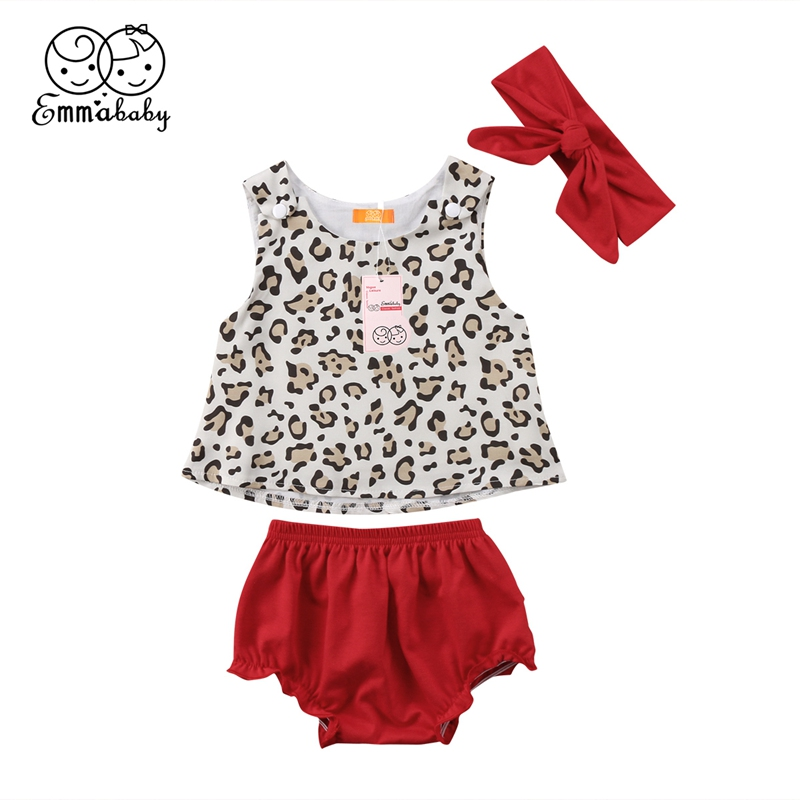 0-24m Newborn Baby Girl Bow Knot Leopard Tops Vest Flower Ruffles Pants Headband Outfit Set Clothes USA