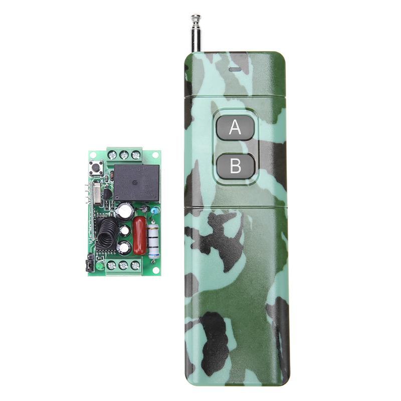 1 Channel 315/433MHz Wireless 2 Button Remote Control Switch Receiver Transmitter for Door Garage Camouflage AC 180-240V wireless service call bell system popular in restaurant ce passed 433 92mhz full equipment watch pager 1 watch 7 call button