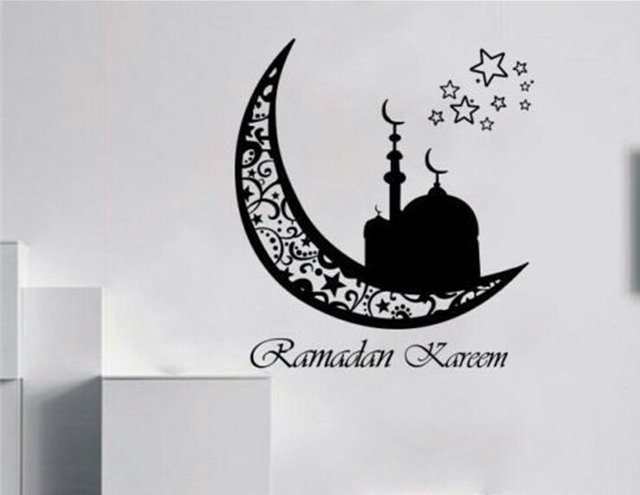 Hot sale vinyl art wall mural sticker home decor bedroom ramadan kareem islam crescent free shipping
