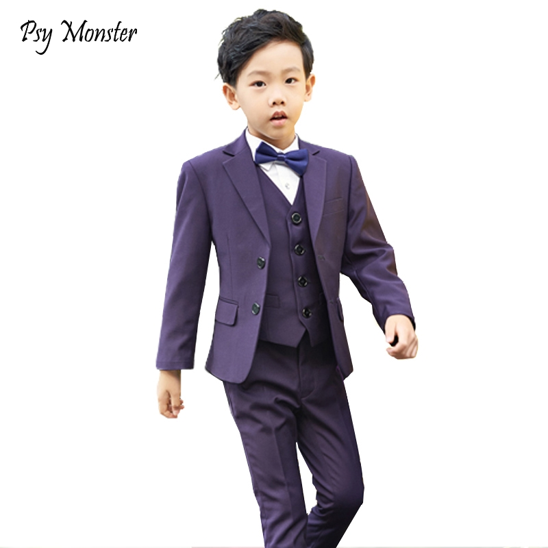 New 5pcs children suits sets boys blazer kids suit vest set formal boys suit dress for wedding host performance costume F121 купить