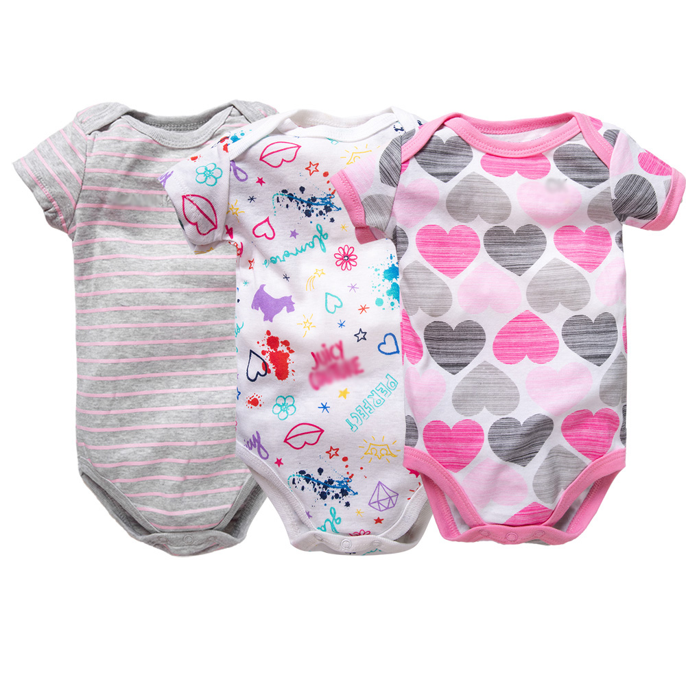 3PCS/LOT 2019 Baby Girl Clothes Newborn Cotton Baby Jumpsuits Ropa Bebe Short Sleeve Bodysuit 6-12 Month