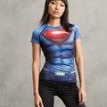 Бэтмен ПРОТИВ Супермена 3D Печатный Майка Женщины Сжатия Рубашка Дамы Реглан С Коротким Рукавом Косплей Костюм Горячие Топы Одежда Женская