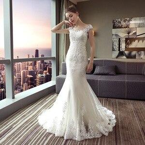 Image 2 - Vestido De Noiva 2020 Mrs Win Die Braut Oansatz Gericht Zug Luxus Spitze Stickerei Meerjungfrau Prinzessin Luxus Hochzeit Kleid F