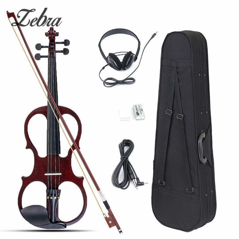 4/4 Electric Acoustic Violin Basswood Fiddle with Violin Case Cover Bow Rosin for Musical Stringed Instrument Lovers Beginners 4 4 high grade full size solid wood natural acoustic violin fiddle with case bow rosin professional musical instrument