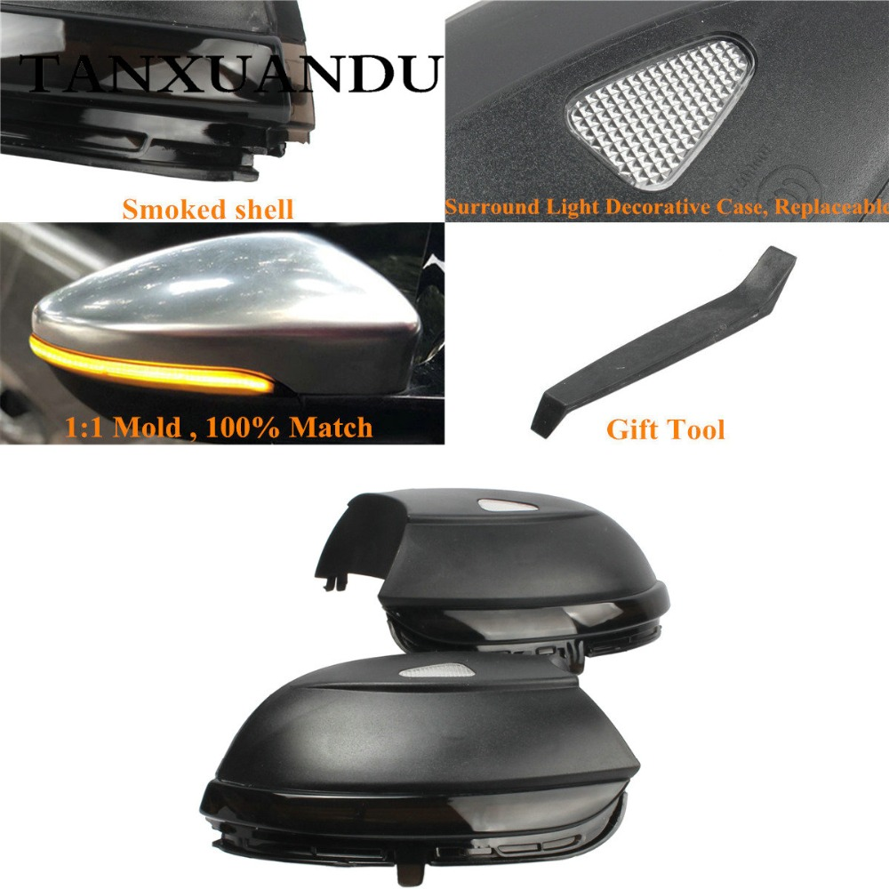 Smoked Dynamic LED Door Mirror Turn Signal Light Wing Lens Indicator Lamp Fit For VW Jetta