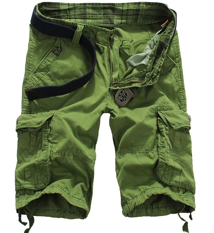 Mens Shorts Pants 2017 Multi-Pocket Casual Short Pants Men Fashion Loose Overalls Brand Mens Cotton Solid Men Short Pants
