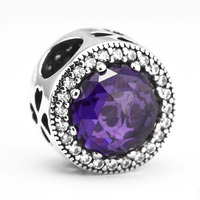 CKK 100 925 Sterling Silver Four Heart Charm With Purple Cz Beads For Jewelry Making Fit