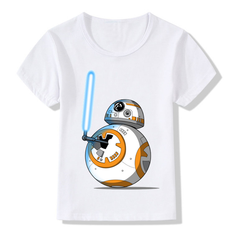 Boys and Girls BB-8 On The Move Print Funny T shirt Baby Star Wars Design T-shirt Kids Summer White Casual Clothes,HKP5163 цена