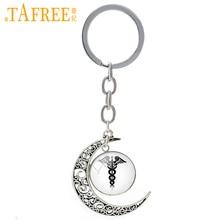 TAFREE Medical Caduceus moon keychain vintage Human Anatomy brain heart eye art doctor nurse RN MD physician key chain T324