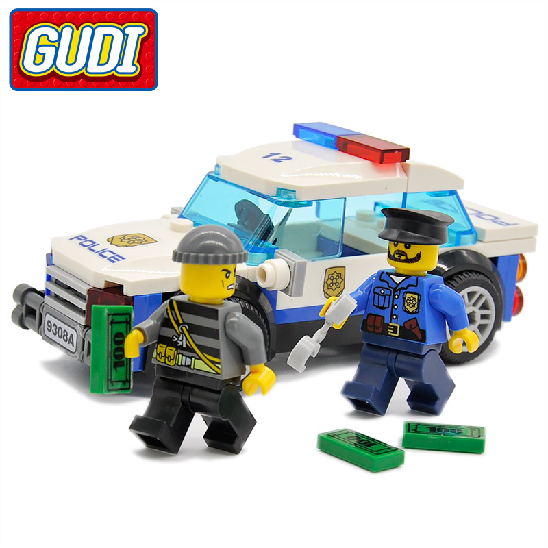 GUDI Legoing City Police  Pursuit Car Blocks 83pc Brick Building Block Brinquedos Classic Birthday Gift Toys for Children