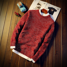 2017 Latest Winter New Fashion Trend Men's Coarse Needle Round Neck Personality Youth Style Sweater Men Models