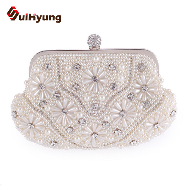 2016 New Bolbe Beaded Women's Clutch Bag Fashion Pearl Diamond Wedding Day Clutch Purse Woman Beading Handbags Party Evening Bag