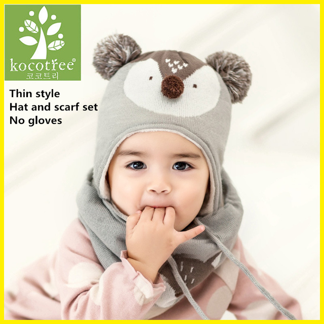 ac1fd3b100d Товар Kocotree 2pcs lot Baby Winter Hat   Scarf Baby Winter Cap ...