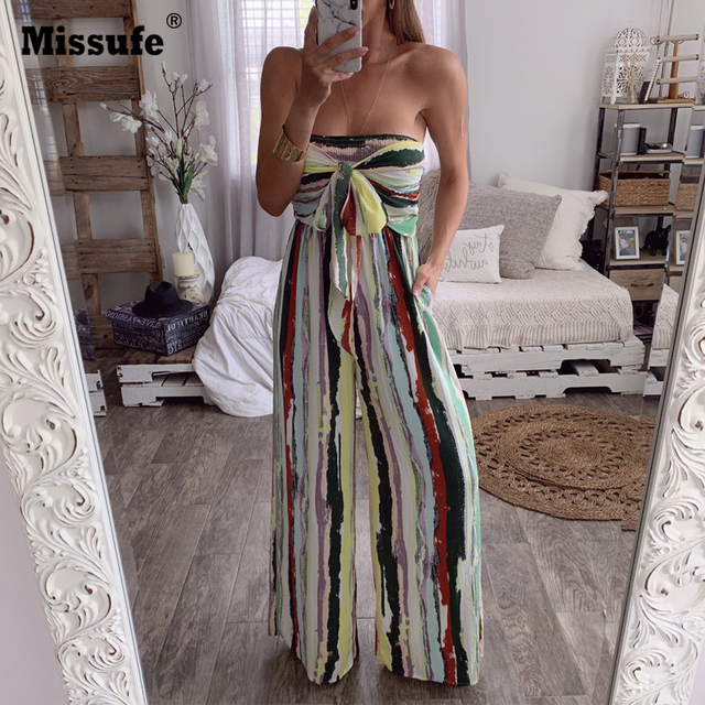 Missufe Strapless Floral Print Rompers Female Jumpsuits Bow Tie Sexy Sleeveless Bodysuits Women Casual Wide Leg Jumpsuit 2019