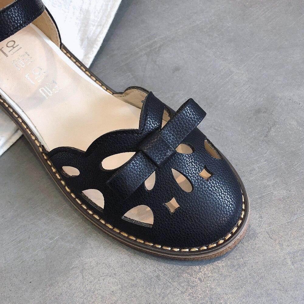Nouvelle Étudiants Marée Plat Rome Loisirs Beige Mode Sandales Femmes Creux Q087 blanc 2018 noir Chaussures De Sauvage D'été Respirant xB76wqYS
