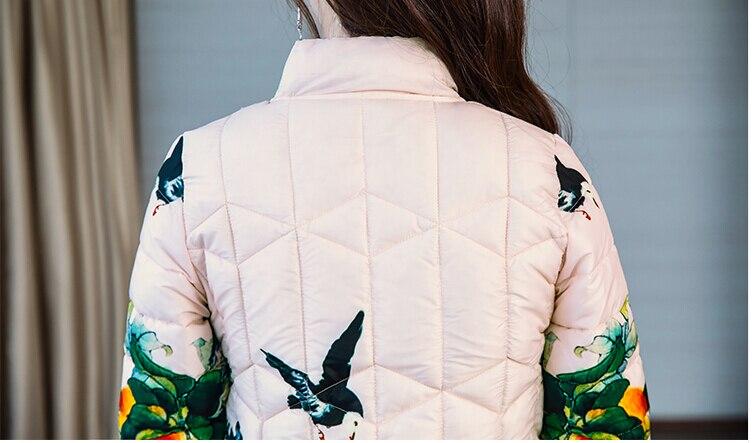 Veste Long Color La Épaissi Plus Longue Impression Photo Taille Femmes Dames 2018 Slim Arrivée Manteau Femme Coton En Nouvelle D'hiver wHqR1Z