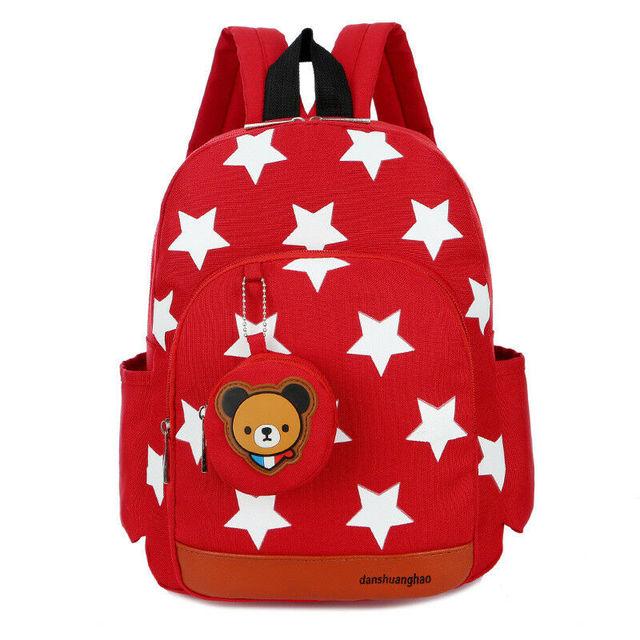 2020 Children Character Backpack Rucksack School Bag Personalised Star Pattern Zipper Kid Book 4 Colors New 3