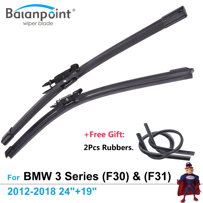 2Pcs <font><b>Wiper</b></font> Blades + 2Pcs Free Rubbers for <font><b>BMW</b></font> 3 Series (<font><b>F30</b></font>) Saloon & (F31) Touring 2012-2018 24