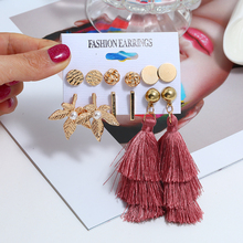 2019 Fashion Best Selling 6 Pair/Set Female Red wine Tassel Earrings Imitation Pearl Leaf Gold Brincos For Women Jewelry Gift цена