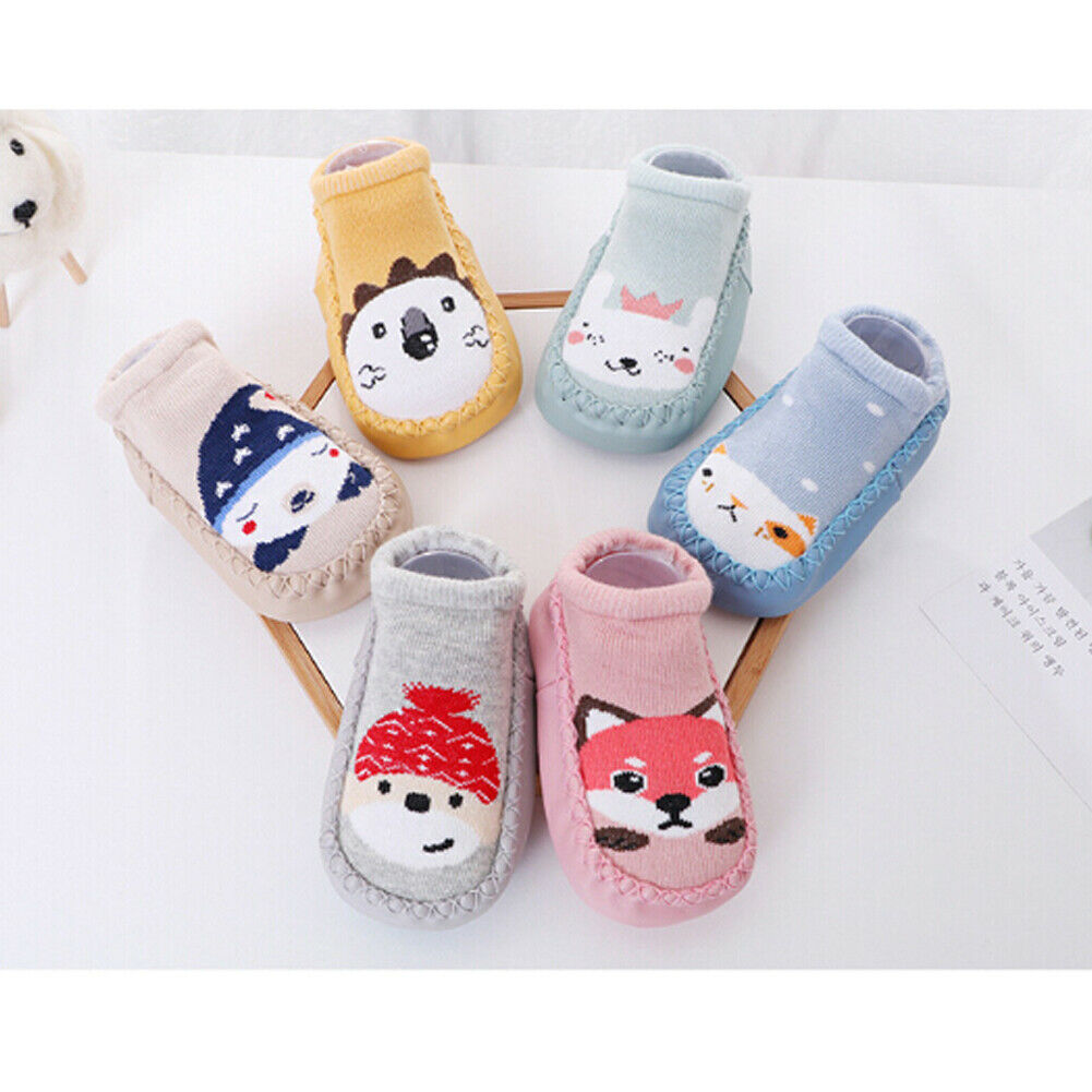 Newborn Baby Kids Cute Cartoon Toddler Anti Slip Shoes Slipper Floor Socks Boots
