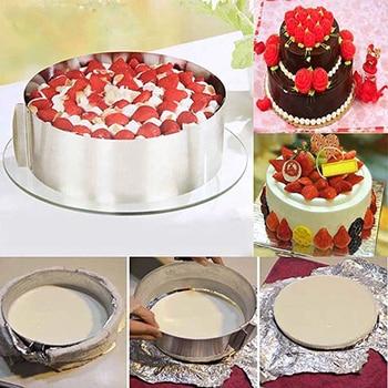 16-30cm obręcz na ciasto ze stali nierdzewnej formy chowane ciasto formy akcesoria do ciast okrągły kształt stojak na babeczki pieczenie w kuchni dekorowanie