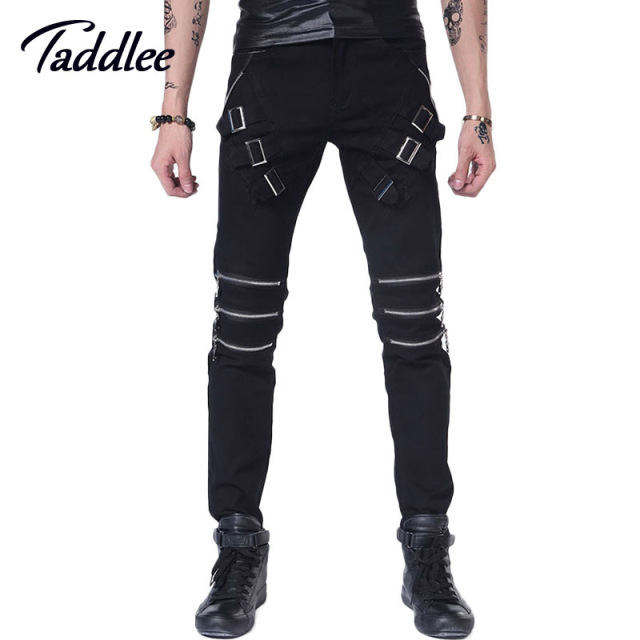 Men Trousers Punk Skinny Slim Jeans Long Pants Hip Hop Fashion Black Color Mens Male Trousers Straight Jeans Motorcycle Jogger