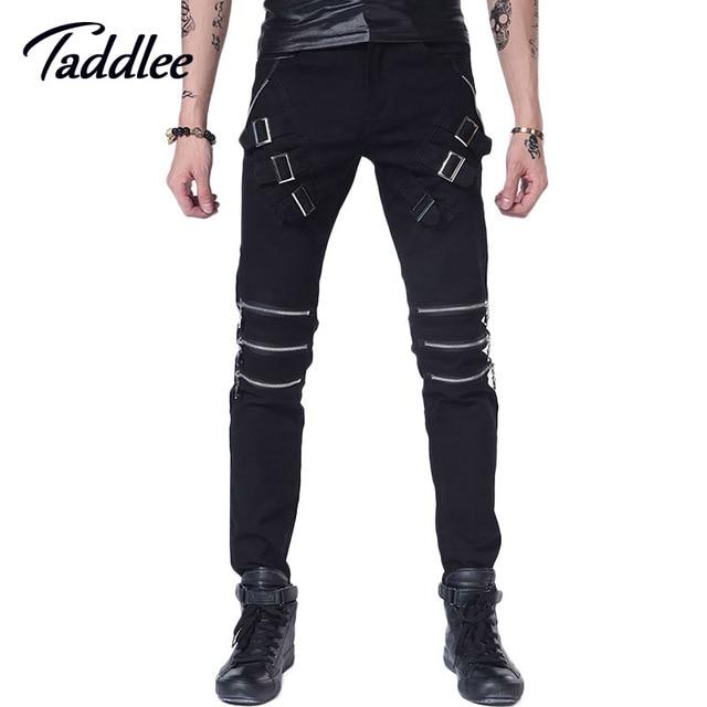 Men Trousers Punk Skinny Slim Jeans Long Pants Hip Hop Fashion Black Color Mens Male Trousers Straight Jeans Motorcycle Jogger