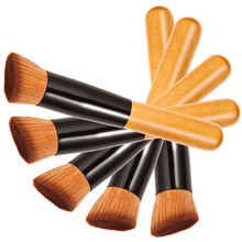 Drop Shopping Small Foundation Wooden Blush Mask Handle Maofeng Fiber Flat Brush Cosmetic Product For Women(China)