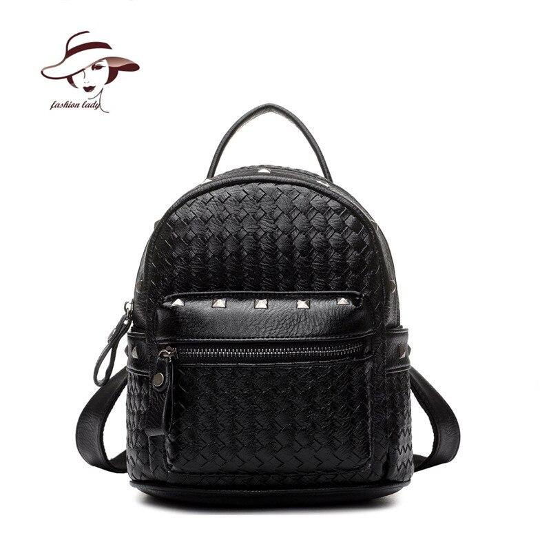 2017 women bag rivet rucksack school bag weave backpack solid plaid backpacks famous brand mochila girl