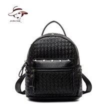 2017 женщин сумки заклепки рюкзак школьный мешок переплетения рюкзак твердые плед рюкзаки известная марка mochila девушка старинные дорожные сумки