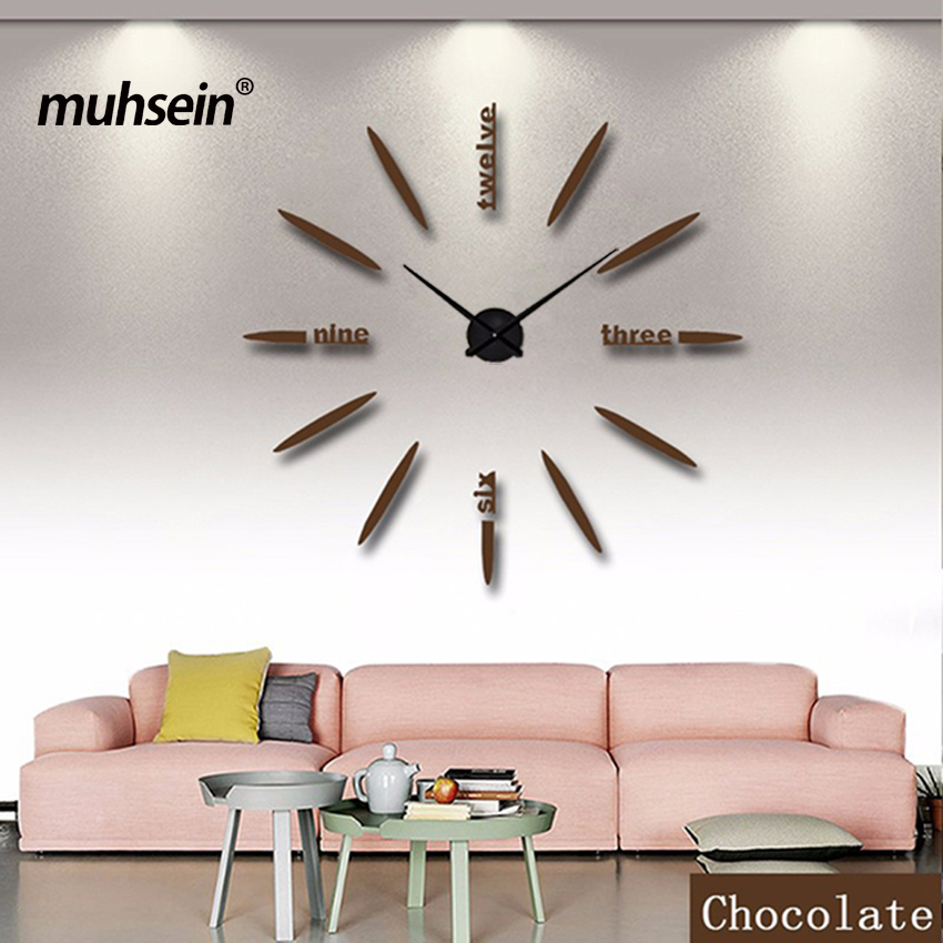 2019 Duvar Saati Akrilik + EVR + Metal Ayna Süper Büyük Kişiselleştirilmiş Dijital Saatler Saatler sıcak DIY Ücretsiz kargo 90 cm x 90 cm