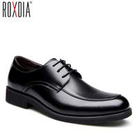ROXDIA Genuine leather mens dress shoes formal business work male flats men's oxford shoes RXM063 size 39 44