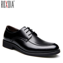 ROXDIA Genuine leather mens dress shoes formal business work male flats mens oxford shoes RXM063 size 39 44