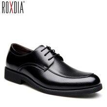 ROXDIA zapatos de vestir de piel auténtica para hombre, calzado formal de trabajo de negocios, planos, oxford, RXM063, talla 39 44