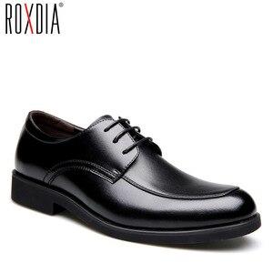 Image 1 - حذاء رجالي من الجلد الطبيعي من ROXDIA حذاء رجالي للعمل الرسمي حذاء أكسفورد للرجال طراز RXM063 بمقاسات 39 44