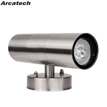 Wodoodporna stal nierdzewna w górę w dół oprawy oświetleniowe LED ścienne IP65 podwójna ściana lampa oświetlenie zewnętrzne GU10 gniazdo AC85-265V NR-46 tanie i dobre opinie Kinkiety Nowoczesne Arcatech TEMPERED GLASS Przemysłowe Polerowana stal STAINLESS STEEL Adjustable Lighting Porch Garden Lights wall lamp