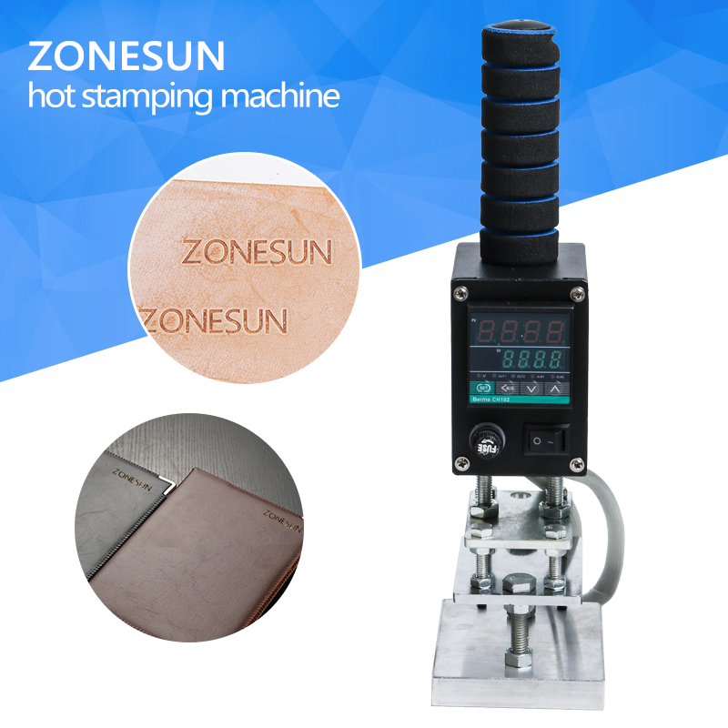 ZONESUN Hand Operate Branding Machine Leather Printer Creasing Machine Hot Foil Stamping Machine Marking Press Embossing Machine hot stamping machine hot foil pneumatic stamping press logo printer for leather paper etc customized printable area zy 819b