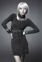 2016 Punk Rave Gothic Women Pencil Dress Sexy European Style Elegant Bodycon Party dress Tight Office Dreess vestidos