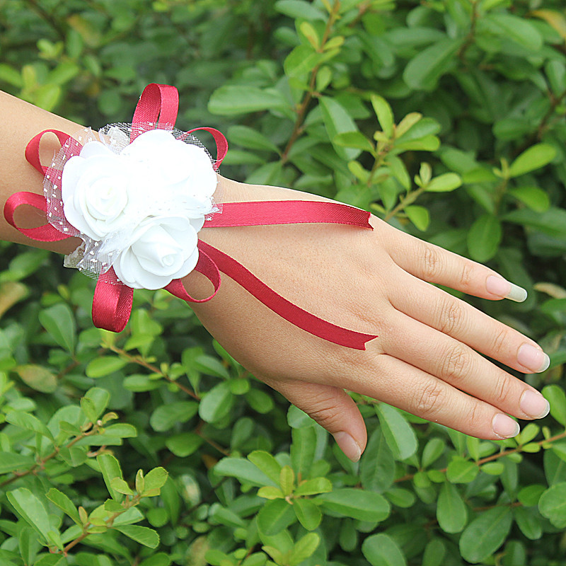 10piece/lot Most Popular PE Flowers Corsage Wedding Wrist Band Boutonniere Custom Made White 3 Rose Ribbon Wrist Flowers  SW003