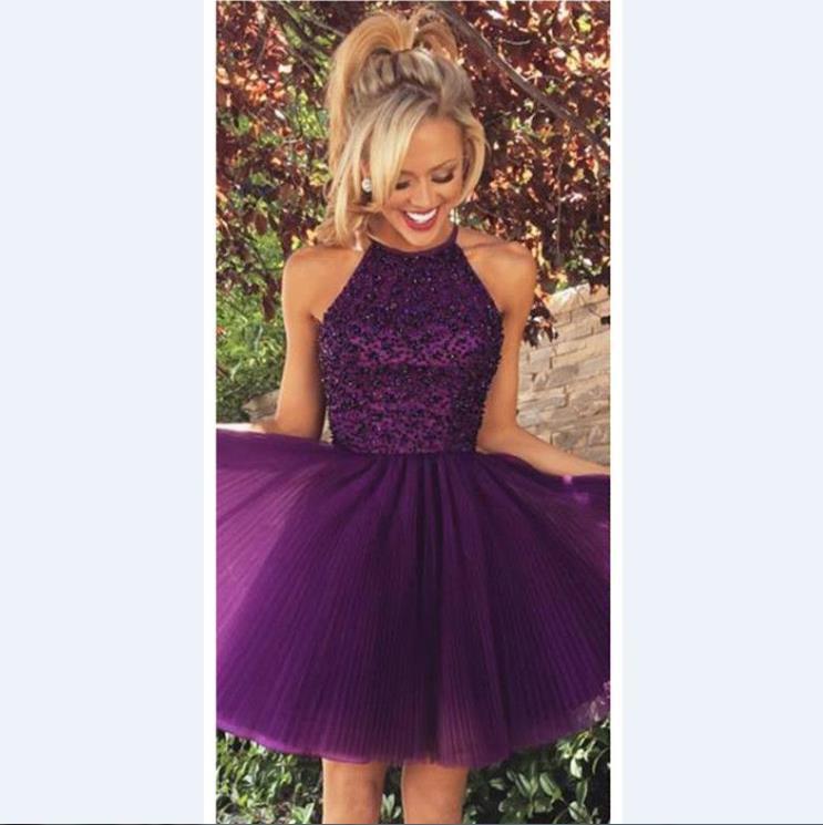 Dark Purple Shor Homecoming Dresses 2015 Halter Neck ...