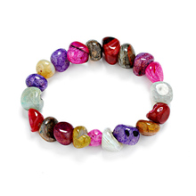 Модный женский фиолетовый браслет из агата, ювелирные изделия, браслеты, бусины, натуральный гравий неправильной формы, зернистый бисер, многоцветный ледяной браслет